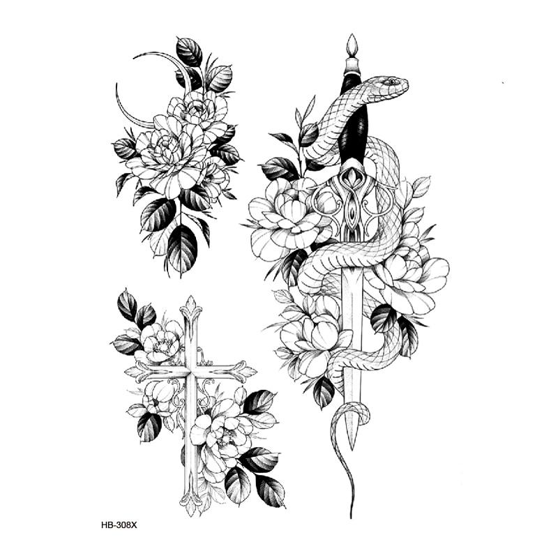 Animals & Flower Tatoo Waterproof Temporary Tattoo Sticker On Body  Art Tattoo Fake Tattoo Sleeve  Tatuagem Henna Tatoo Sleeve
