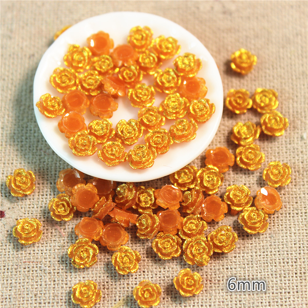 200PCS 6mm Cute Golden Painted Resin Little Flower Flatback Cabochon DIY Jewelry/Craft/Nail Decoration