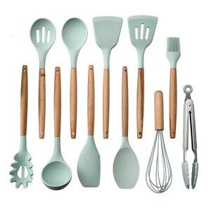 Image 5 - 12pcs Kitchen Utensil Set Silicone Cooking Tools Set Household Wooden Koken Gereedschap Met Opbergdoos Turner Cooking Tool Sets