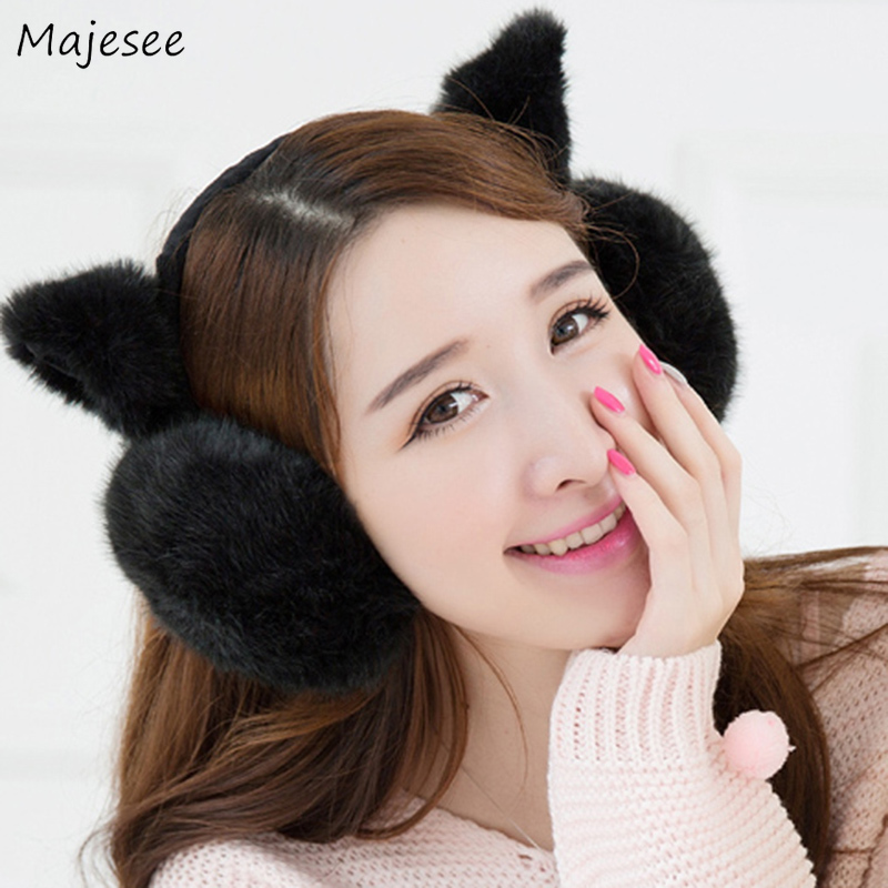 Earmuffs Women Solid Kawaii Soft High Quality Warm All-match Korean Style Womens Ear Warmer Fashion Chic Females Winter Casual