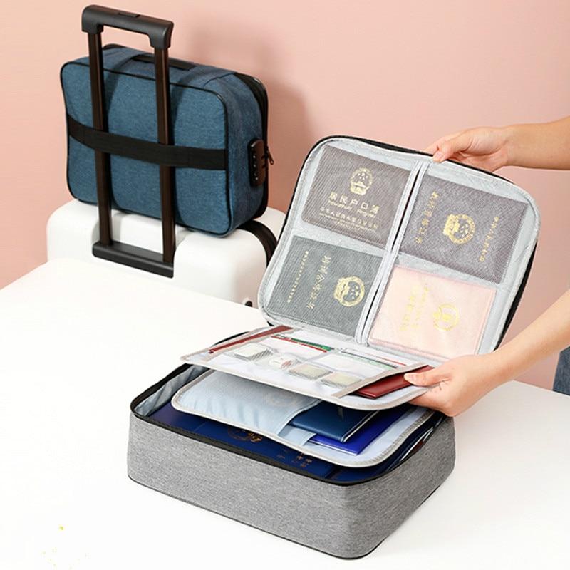 Grande capacité multi-couche Document billets sac de rangement certificat fichier organisateur étui maison voyage passeport cartes sac avec serrure