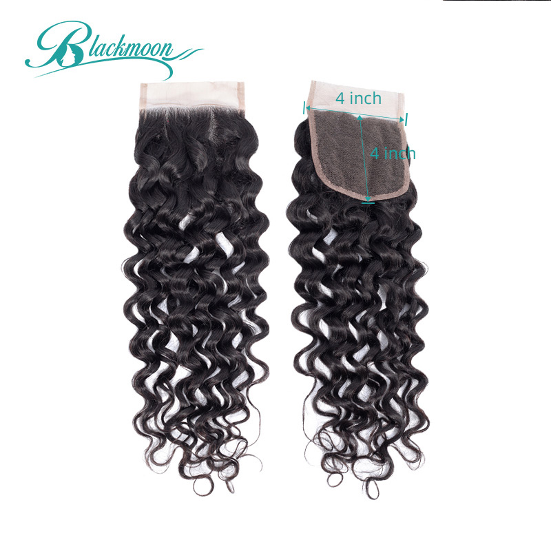 Water Wave Closure Lace Closure 4x4 Closure Indian 8-20 Inch Closure Human Hair Closure Remy Closures Natural Blackmoon Hair