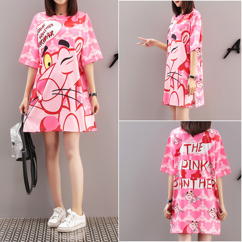Loose Pink Cartoon Panther T-Shirt Plus Size M-XXXXL Women Shirts O-Neck Long Tshirt Preppy Style 90s Streetwear Red Clothes