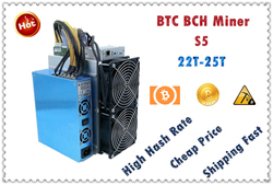 BTC BCH Miner S5 25T±10% 2100W+7%  With PSU Economic Than Antminer S9 S9j S9k S15 S17 T9+ T17 S17+ WhatsMiner M3X M21S M20S EBIT