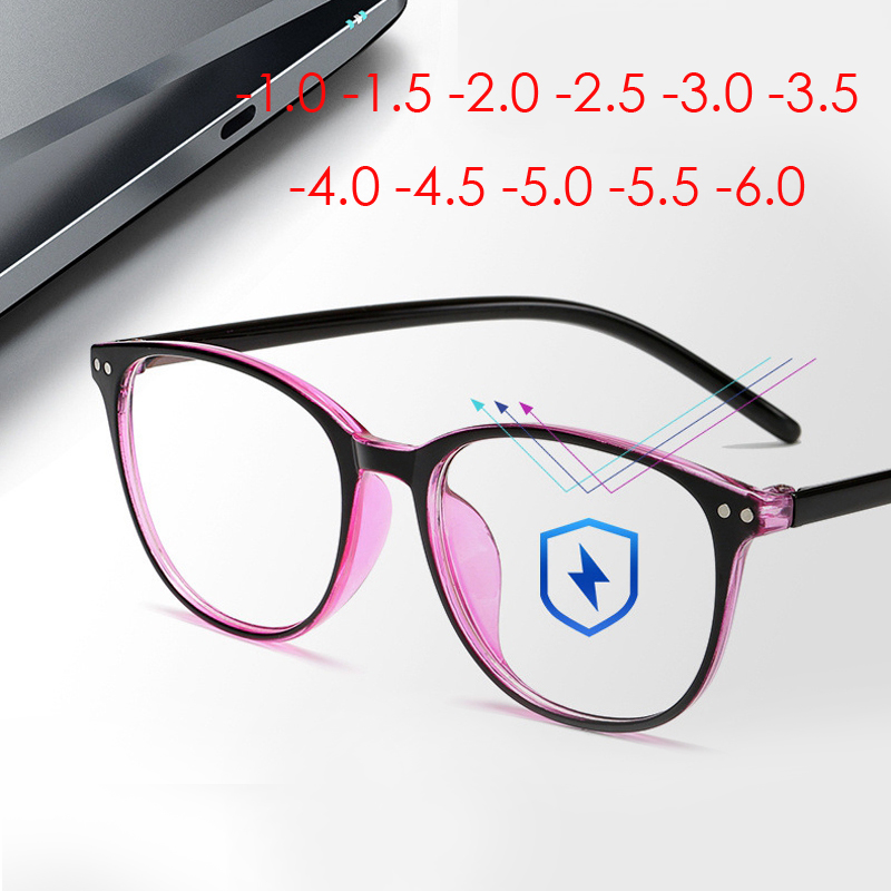 Seemfly Rivets Finished Myopia Glasses Women Men Blue Film Coating Nearsighted Eyeglasses -1.0 -1.5 -2.0 -2.5 -3.0 -3.5 To -6.0
