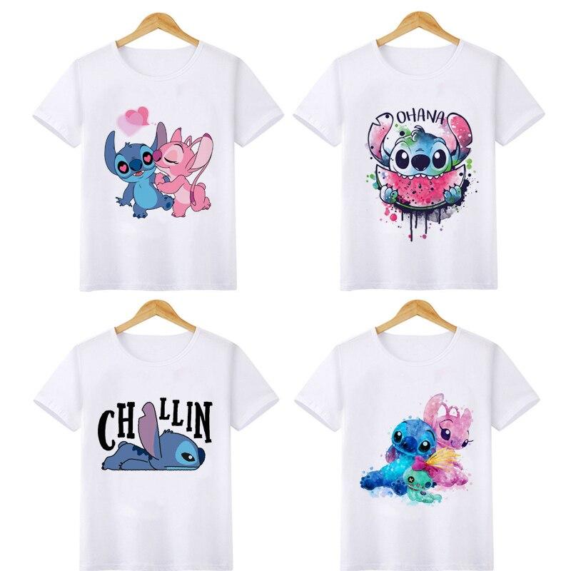 Kawaii Lilo Stitch Harajuku T Shirt Kids Children Ullzang Cute Anime Ohana T-shirt Streetwear Fashion Tshirt Graphic Top Tee Kid
