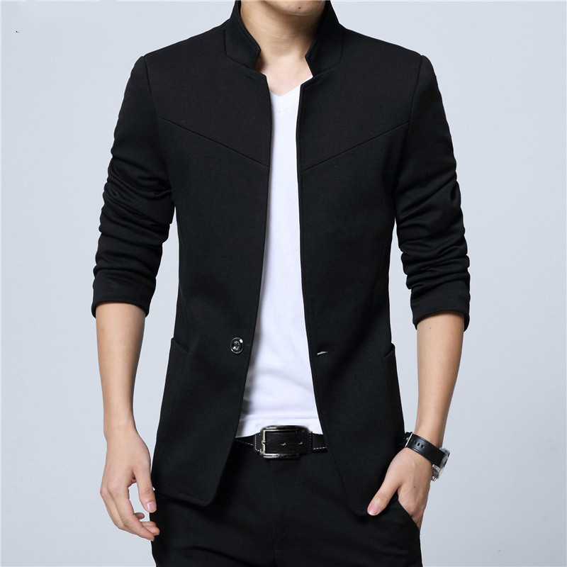 Blazer Men Jackets Male Stand Collar Male Blazers Slim Fit Mens Blazer Black Jacket Men Plus Size 5XL
