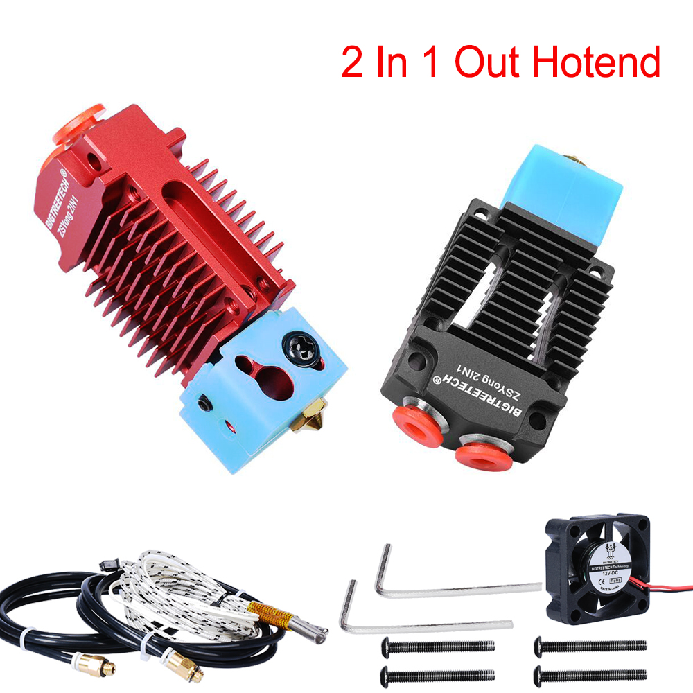 2 IN 1 Out Hotend J-head Extruder 3D Printer Parts Bowden Extruder Multi-Color 12V/24V 1.75MM Filament Cooling Fan VS V6 Hotend