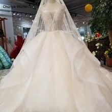 LS76433 especial vestido de novia con falda con velo cuello redondo mangas v back vestido de bola vestidos de novia con flores entre las bolitas de las mujeres