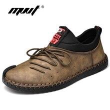 Nuevos zapatos casuales de cuero de moda para hombre, zapatos de hombre hechos a mano, mocasines Vintage, pisos de hombre, mocasines, zapatillas de gran tamaño