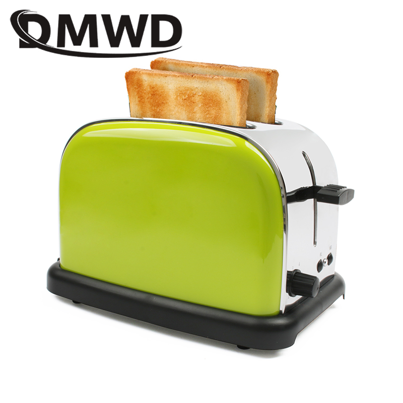 DMWD Stainless Steel Bread Maker Electric Toaster Cake Toast Sandwich Oven Grill 2 Slices Automatic Breakfast Baking Machine EU