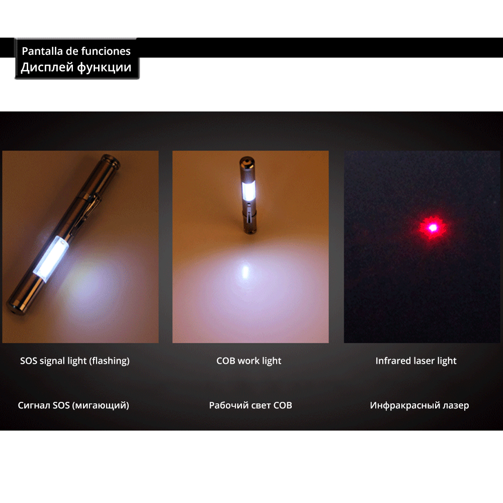 Купить с кэшбэком Multifunctional LED Flashlight laser light COB work light Powered by AA batteries Suitable for teachers, camping,etc.