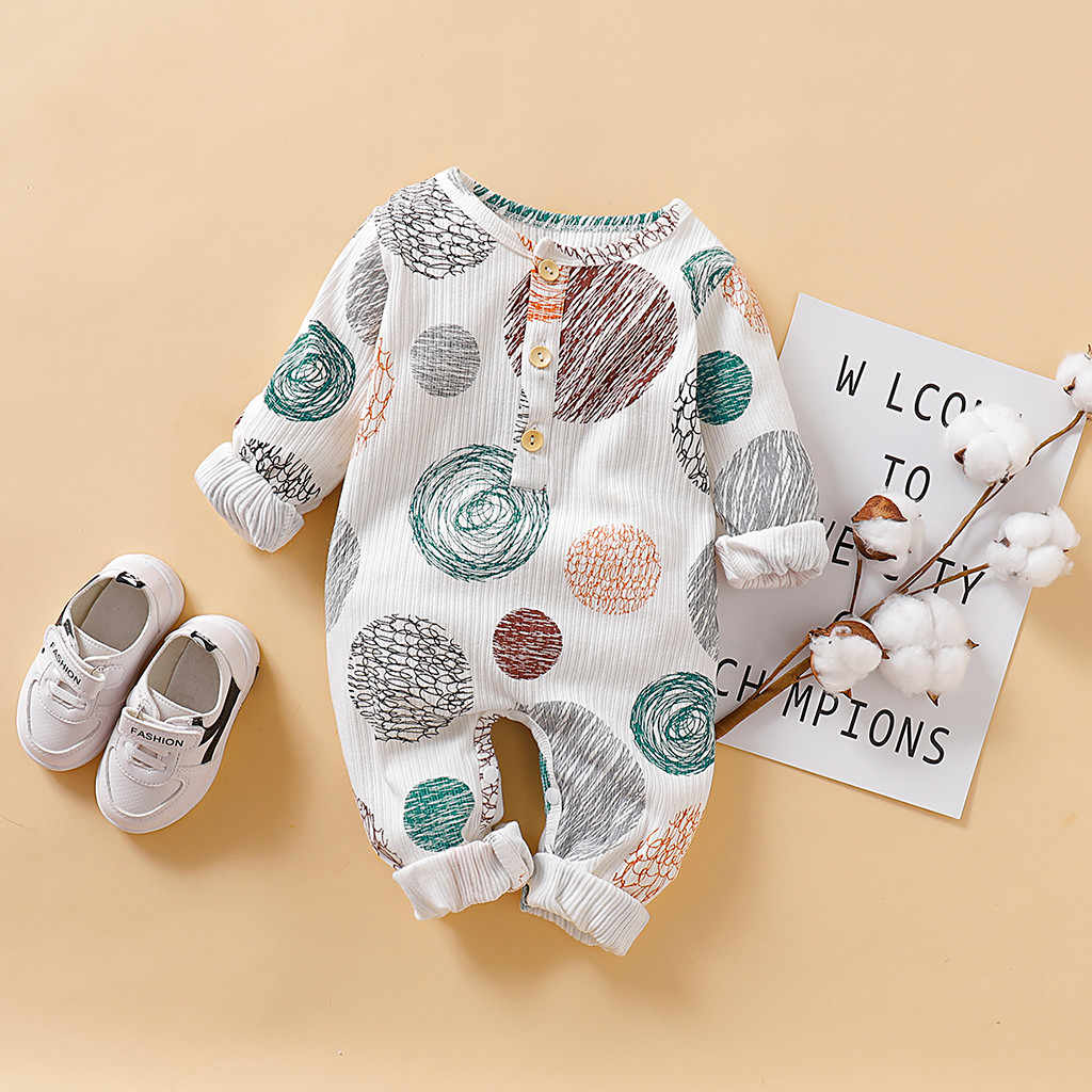 Baby Winter Romper Infant Baby Boys Girls Long Sleeve Dot Print Romper Jumpsuit Clothes Roupas New Born Baby Kids Clothing 2019