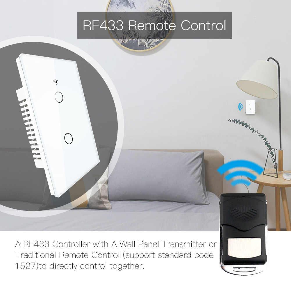 WiFi умный настенный светильник, переключатель US RF 433 МГц, беспроводная стеклянная панель, приложение Smart Life Tuya, дистанционное управление, работает с Alexa Google Home