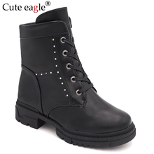 Cute eagle Girls boots new Kids Natural PU Leather Boots For Brand Princess winter Cotton Children Shoes