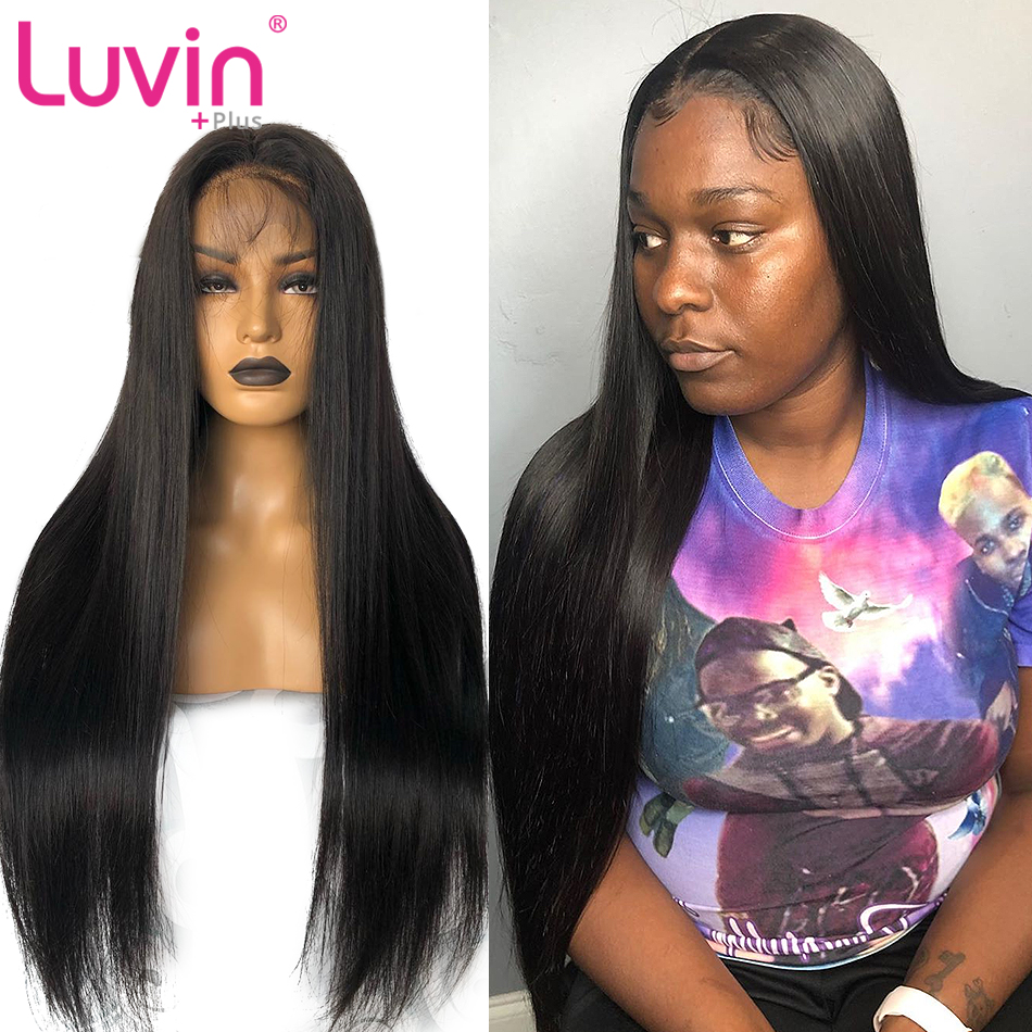 <font><b>Luvin</b></font> OneCut <font><b>Hair</b></font> Straight 13x6 Lace Front Human <font><b>Hair</b></font> Wigs Glueless 10-34 30 inch Long Glueless Brazilian Frontal Wig image