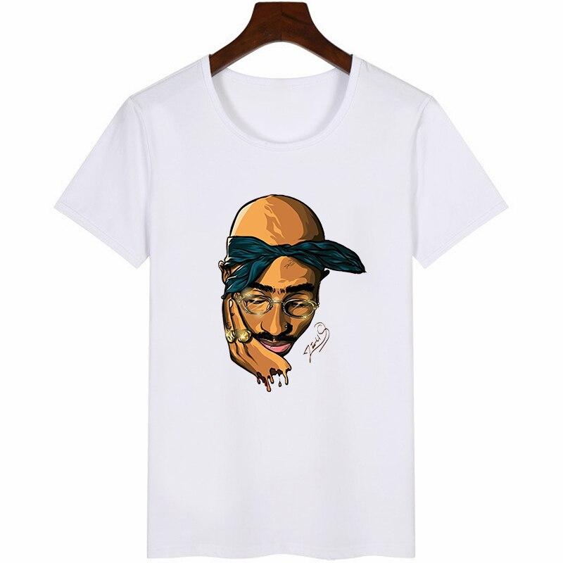 2pac Print Men Tshirt Fashion Streetwear Style Funny Graphic male T-shirt Summer Shakur Hip Hop Rapper Tu&pacs T Shirt Tops 2019