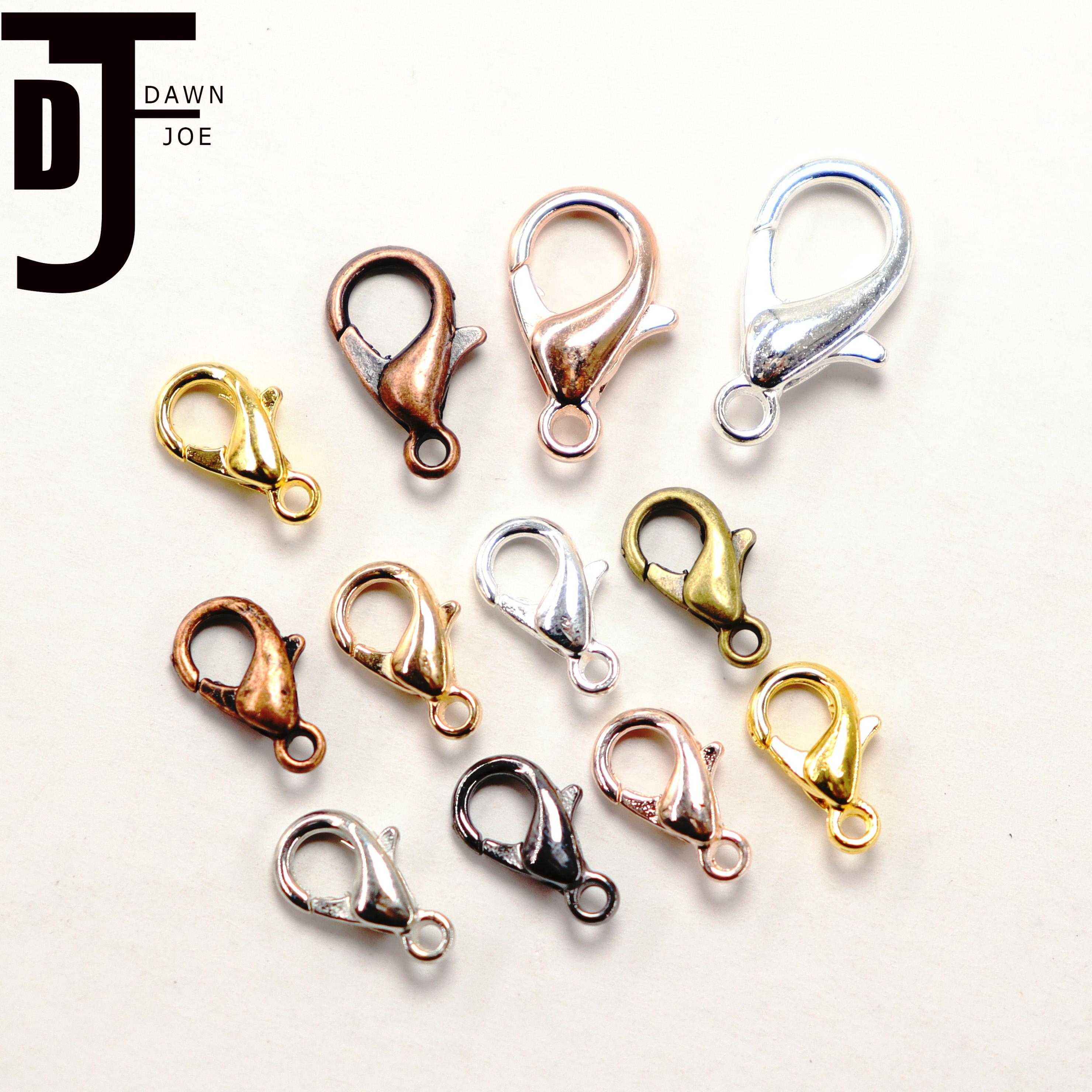 50pcs 10/12/14/16mm 8 Color Gold Lobster Clasps  DIY Jewelry Making Necklace Closure Connector Bracelet Lobster Buckle Finding