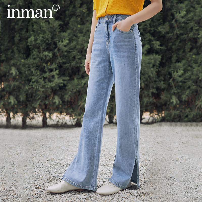 INAMN 2020 Summer New Arrival Retro Style High Waist Slimmed Pure Cotton Long Straight-leg Jeans