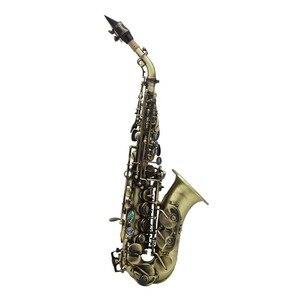 Image 4 - ヴィンテージスタイル Bb ソプラノサックスサックス真鍮素材木管楽器ケース手袋クリーニングクロスブラシサックスストラップ Mouthp