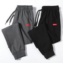 Pantalon de survêtement en coton pour hommes, streetwear, crayon, en lin, pleine longueur, avec cordon de serrage, nouvelle collection