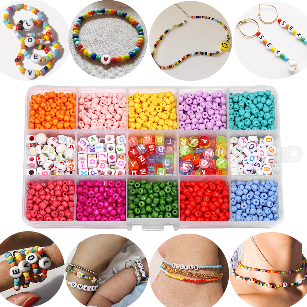 2020pcs Mix color Letter Beads Jewelry Making Supplies Kit Beads Wire for Bracelet DIY Earrings Making Kit Jewelry Finding 1