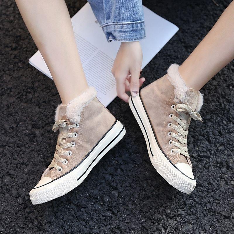 Winter new cotton shoes simple plus velvet high canvas shoes Korean version of the thick warm two cotton shoes 26