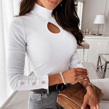 Women's hollow out long sleeve blouse solid ribbed tops slim for women sexy elegant girls ladies new fasion summer autumn 2021