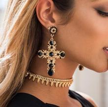 Vintage Womens Earrings Bohemian Crystal Cross Pendant Korean Fashion Christmas Jewelry