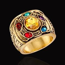 Hot Movie Marvel Avengers: Infinity War Thanos Infinity Gauntlet Power Cosplay Alloy Crystal Gem Ring Jewelry For Men Fans Gift(China)