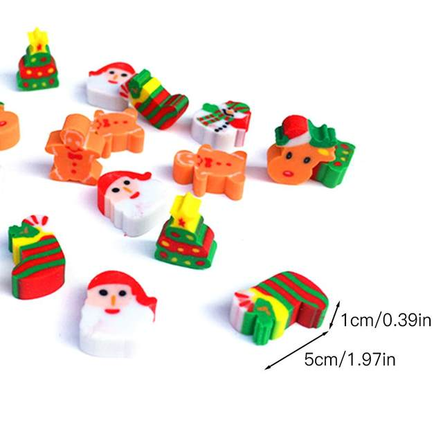 20PCS Christmas Gifts Santa Claus Snowman Eraser Transparent Packaging Ballpoint Pen Writing Eraser Children's Christmas Gift 25