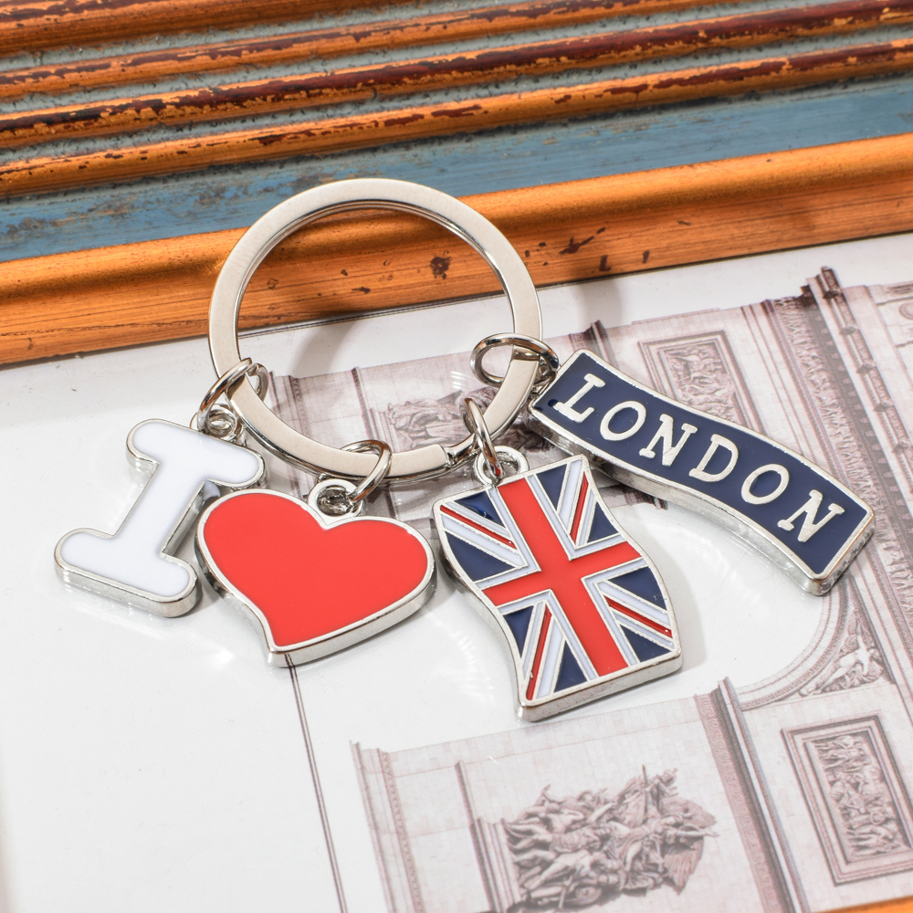 Vicney I LOVE LONDON Fashion Key Chain British Flag Pendant Keychain For Friends Zinc Alloy London Travel Souvenir Keyring Gifts