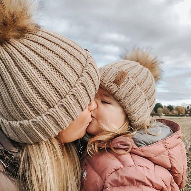 FURTALK Winter Pompom hat for Kids Ages 1-10 Knit Beanie winter baby hat for children fur Pom Pom Hats for girls and boys 4