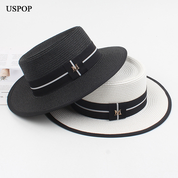 USPOP Women hat summer sun panama straw shade beach female letter M fedoras