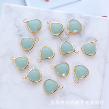 Water droplet shape Birthstone gifts DIY hand-made accessories single hanging double hanging two types of gold-rimmed jadeite co(China)