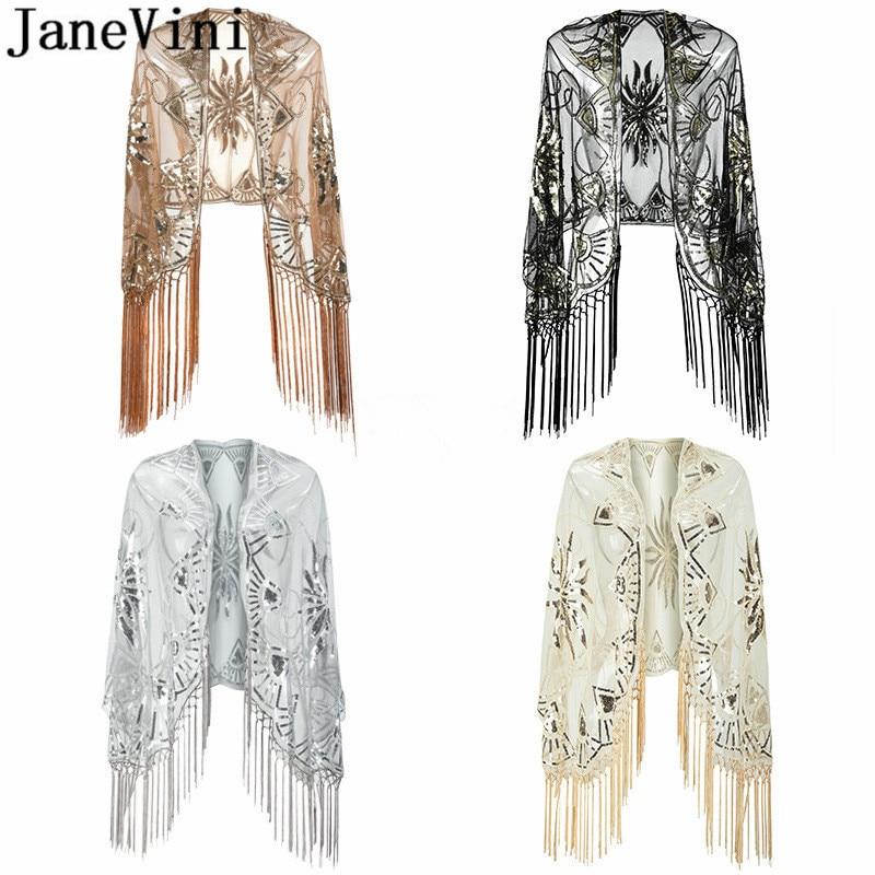 JaneVini Bling Silver Sequins Bridal Shawls Wraps Capes Beaded Gold Bolero Sequin Estola Tassel Shrugs For Women Evening Dress