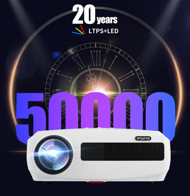 WZATCO C3 4K Full HD 1080P LED Projector Android 10 Wifi Smart Home Theater projector 18A