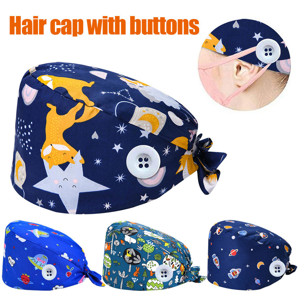 #H30 Print Button Bandage Elastic Section 100% Cotton Surgical Caps Scrub Caps For Men Women Hospital Hats New Arrival
