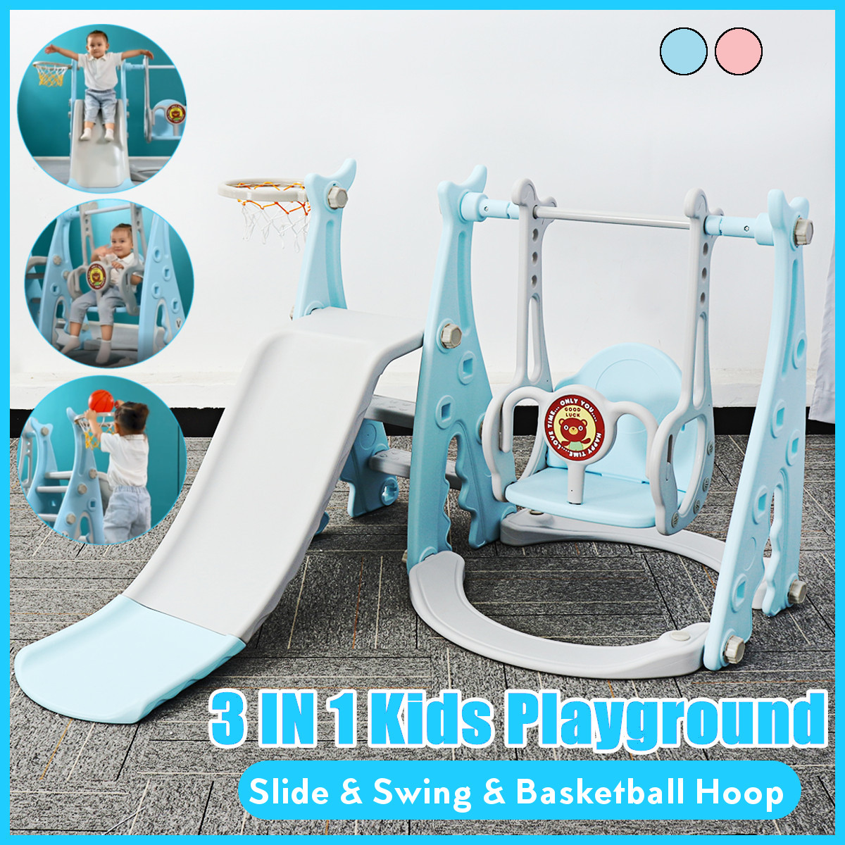 3 IN 1 Plastic Kids Slides And Swing Child Home Playground Plastic Slides Indoor Eco-friendly Slider with Swing Freeshipping(China)