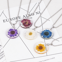 5 Color Fashion Women Girl Handmade Bohemia Boho Chrysanthemum Transparent Resin Pendant Chain Necklace Jewelry