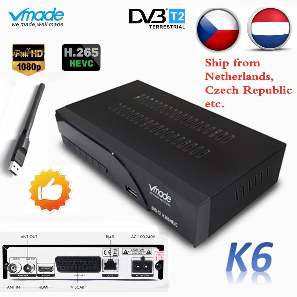 Vmade DVB T2 K6 Scart Digital Terrestrial TV Box Full HD 1080p Support H.265 / HEVC HDMI Sound DVB T2 TV Receiver Tuner+USB WIFI