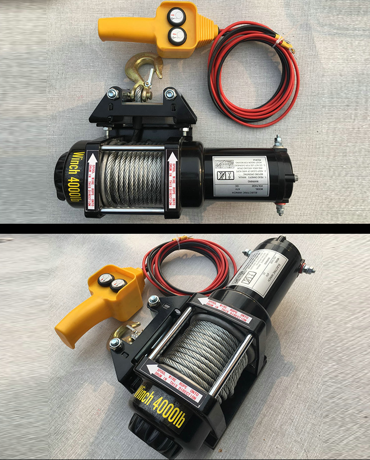 12V24V ATV Motor 4000LB Electric Winch Wire Rope Recycling Winch Traction Cable Traction Kit Outdoor Cross Country Crane