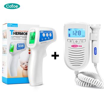 Cofoe urządzenie do badania dopplerowskiego płodu dziecko pulsometr + termometr na podczerwień do czoła gorączka ciała pomiar temperatury dla ciężarnych tanie i dobre opinie KF-011 Cofoe Fetal Doppler + Forehead Thermometer 130*100*36 138*95*40 Medical ABS