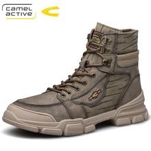 Camel Active Nieuwe Mannen Schoenen Hoge Kwaliteit Echt Leder Mannen Enkellaars Mode Winter Mannen Laarzen Warme casual Schoenen