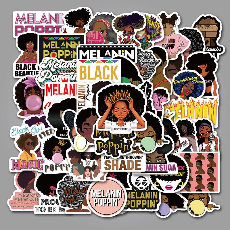 50PCS Fashion Inspirational Melanin Poppin Black Girl Stickers for DIY Luggage Laptop Skateboard Car Motorcycle Bicycle Stickers