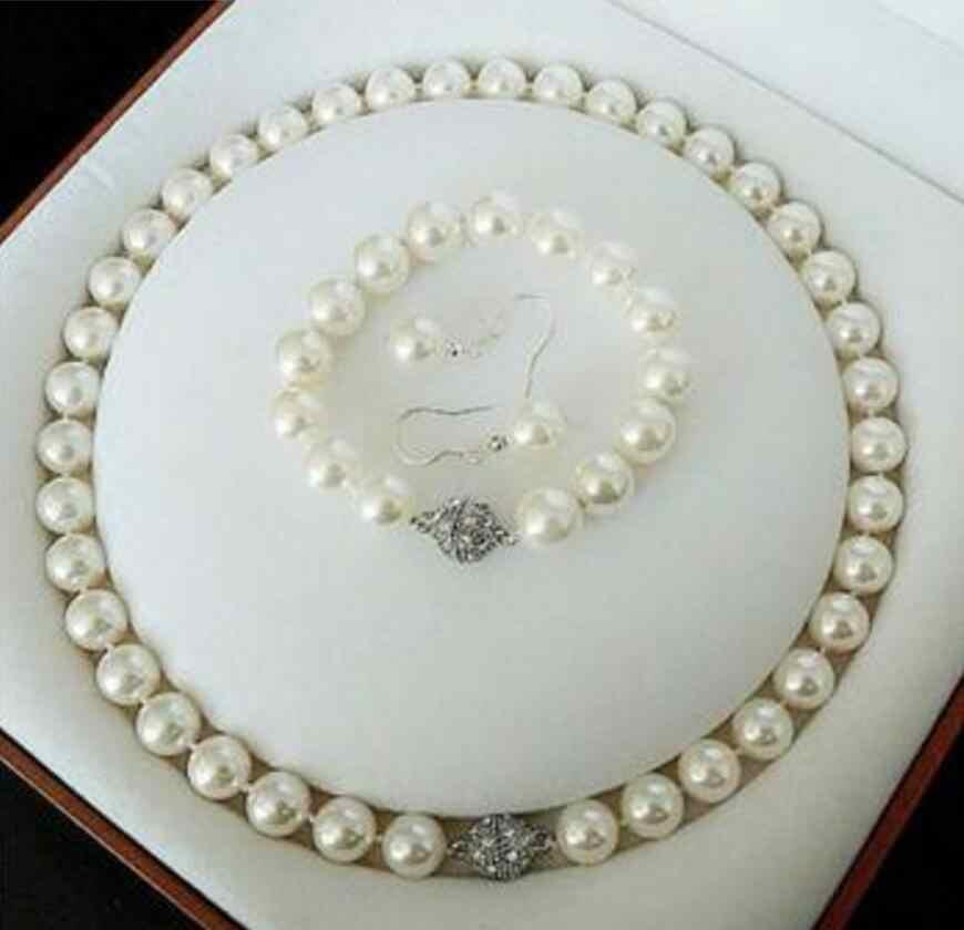จัดส่งฟรีสวย 12 มม.สีขาวมุกจี้สร้อยคอแหวนต่างหูชุด