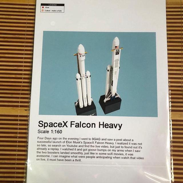 1:160 Falcon Heavy Rocket Spacex Paper Model Puzzle Handmade Diy Space Model 6
