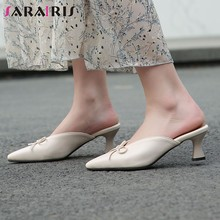 SARAIRIS New Ladies Casual High Heels Mules Spring Summer Elegant Pointed Toe Mules Women Cool Pointed Toe Heeled Shoes Woman(China)
