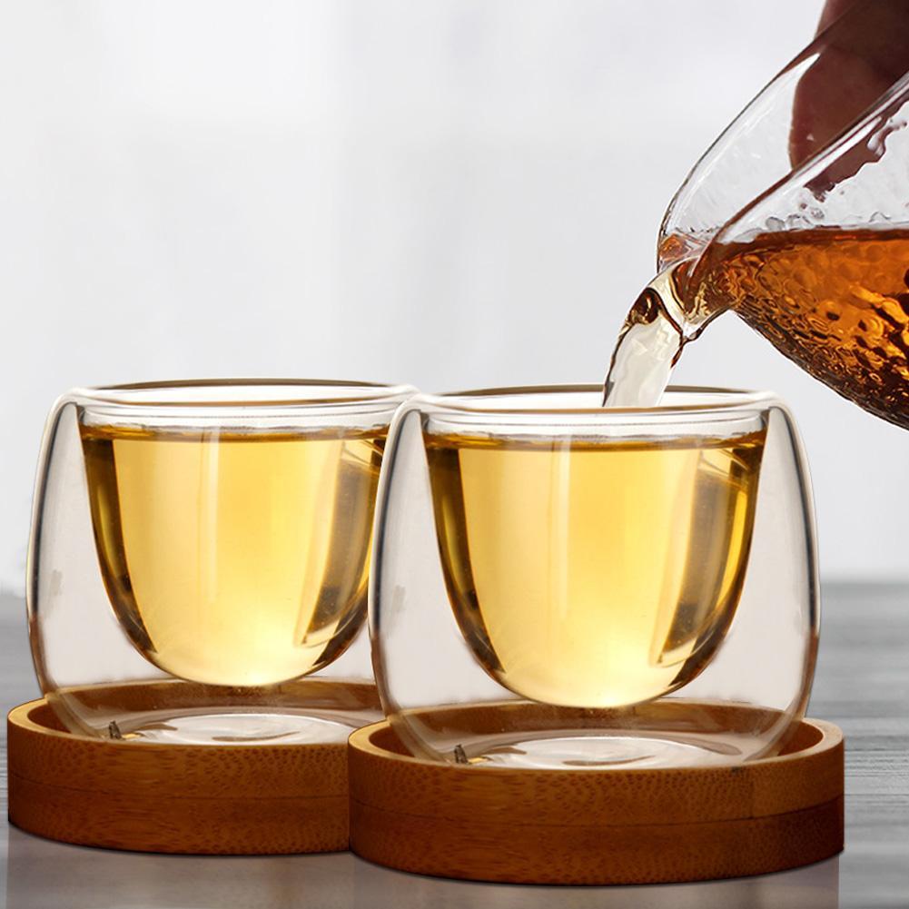 80 мл Двойная Стенка Изолированная двойная стеклянная посуда кофейные чашки с поддоном для питья чая латте кофейные кружки для виски стекля...
