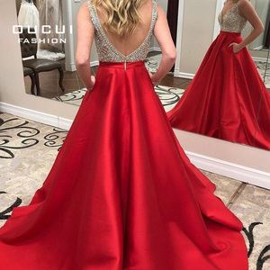 Image 3 - Deep V neck Beaded Formal Pageant Evening Dresses 2019 Long Red Satin Prom Dresses with Pocket Backless Sweep Train OL103517